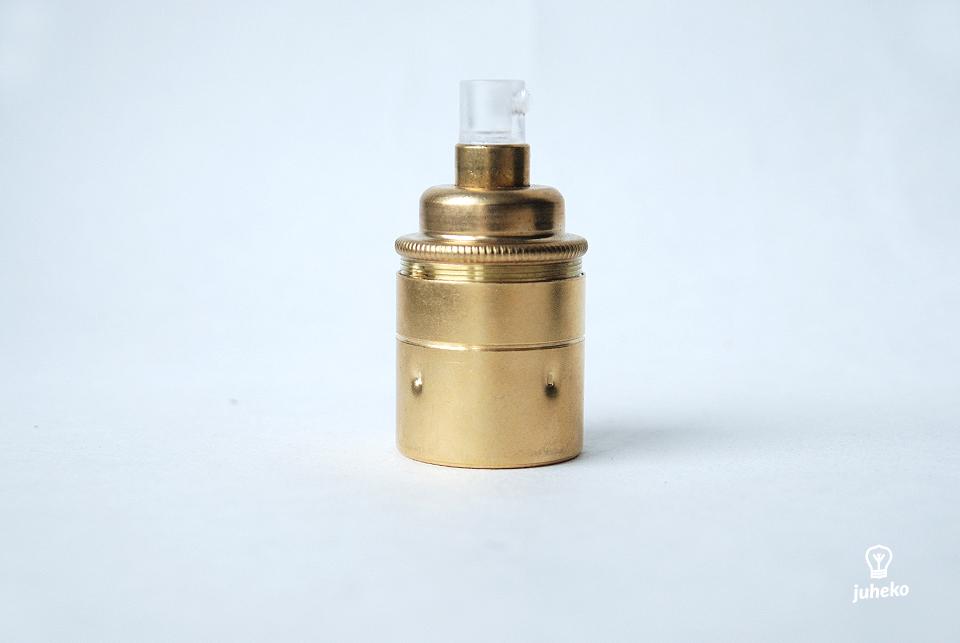 Lampholder E27, earthed, antique gold