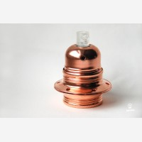 Copper lampholder E27 with two shade rings, earthed