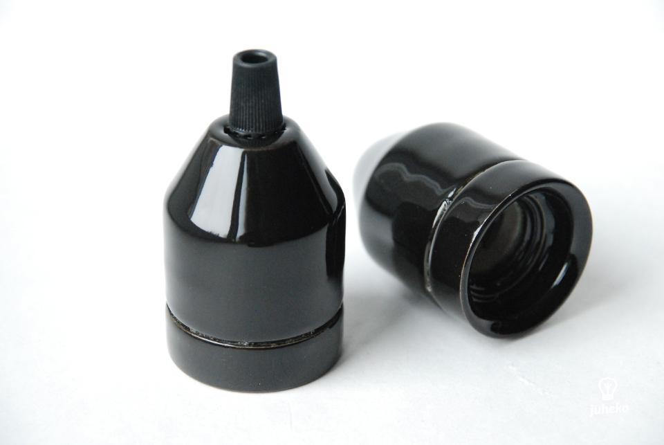 Porcelain bulb holder Klack, black