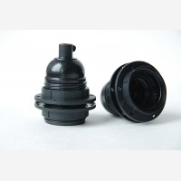 Bakelite lampholder E27 with two shade rings, unearthed, black