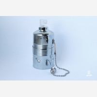 Metal lampholder E27, silvery with pull switch, unearthed