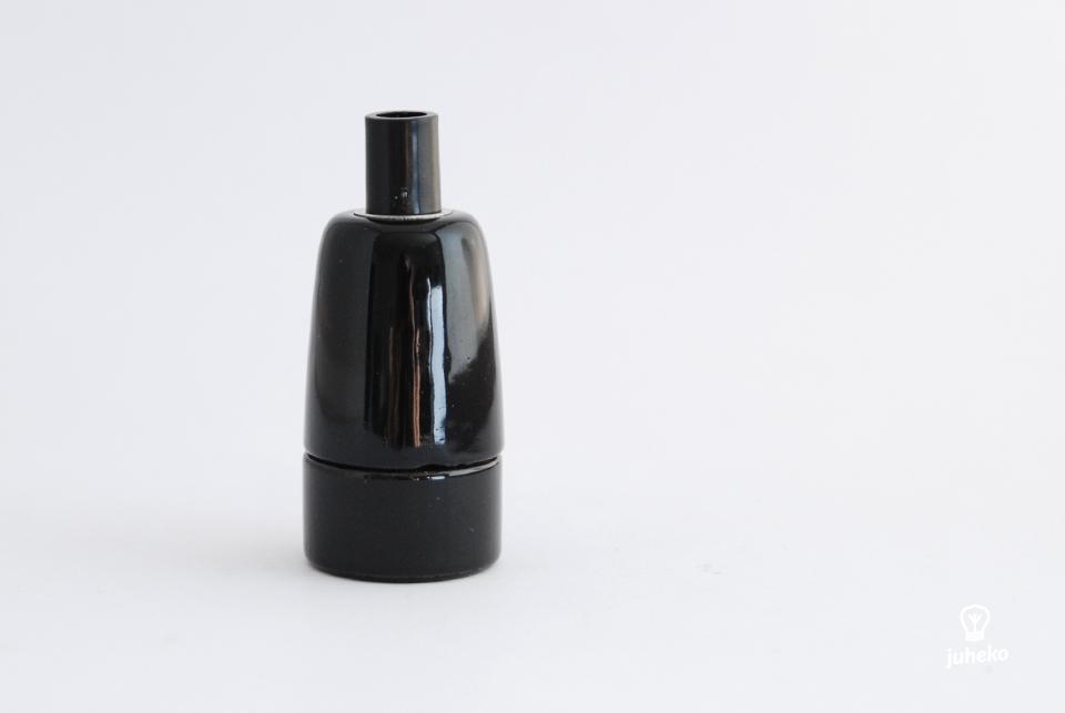 Porcelain bulb holder, E14 black