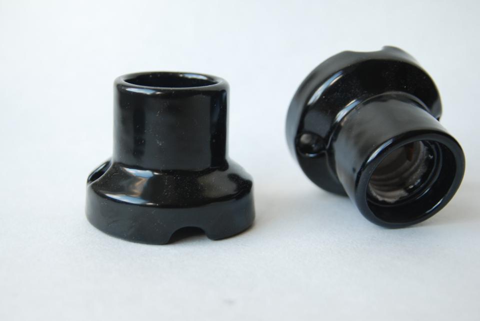 Porcelain bulb holder for ceiling E27, black