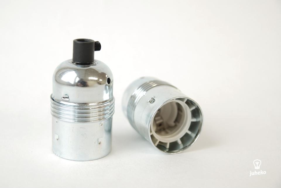 Silvery lampholder E27, earthed