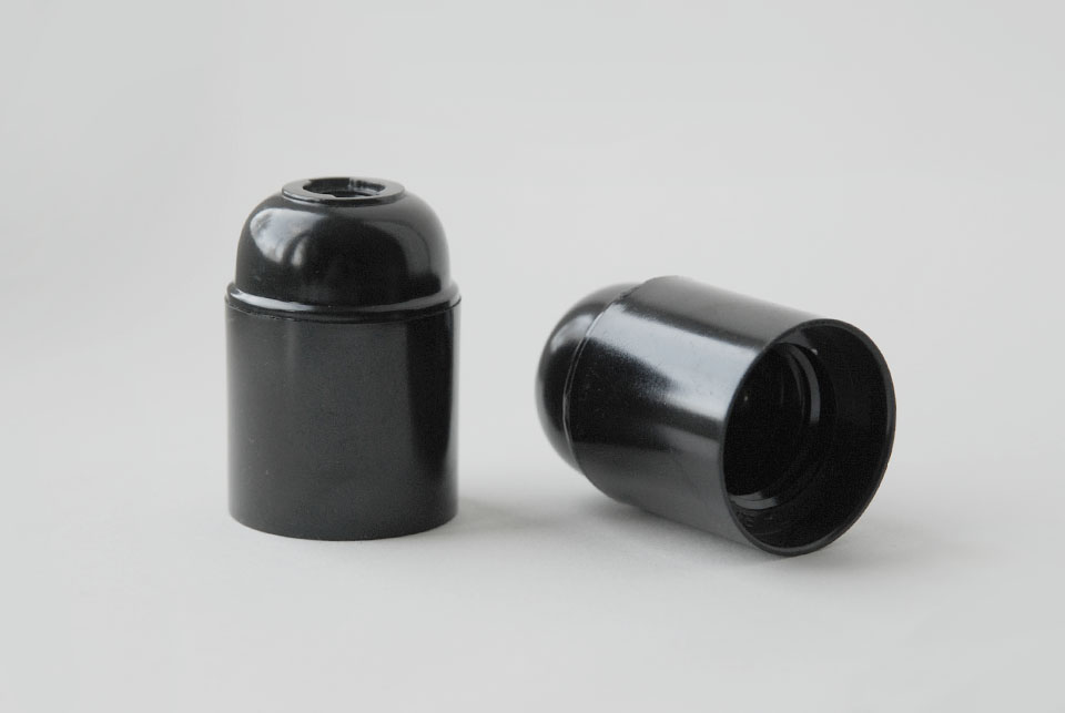 Bakelite lampholder E27, unearthed, black