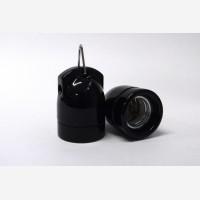 Black porcelain lampholder with 2 holes