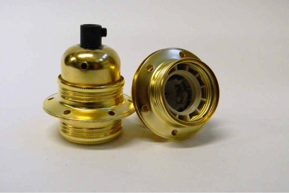 Brass lampholder E27 with two shade rings, earthed