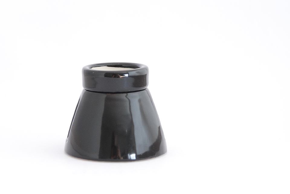 Big porcelain bulb holder for ceiling, E27, black