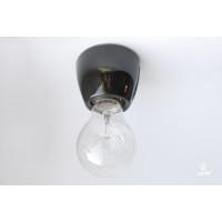 Porcelain bulb holder for wall E27, black